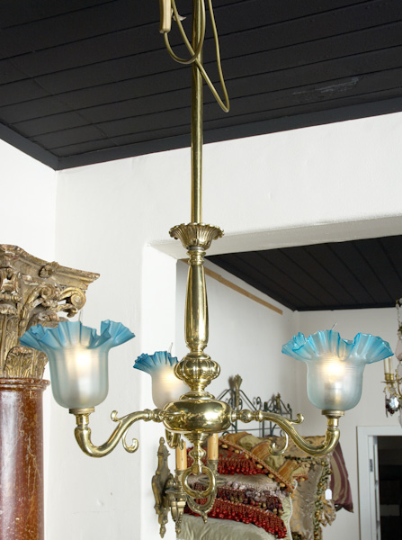 Victorian Chandelier with original pleated shades