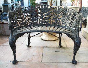 Bronze Laurel two seater demi-lune garden bench