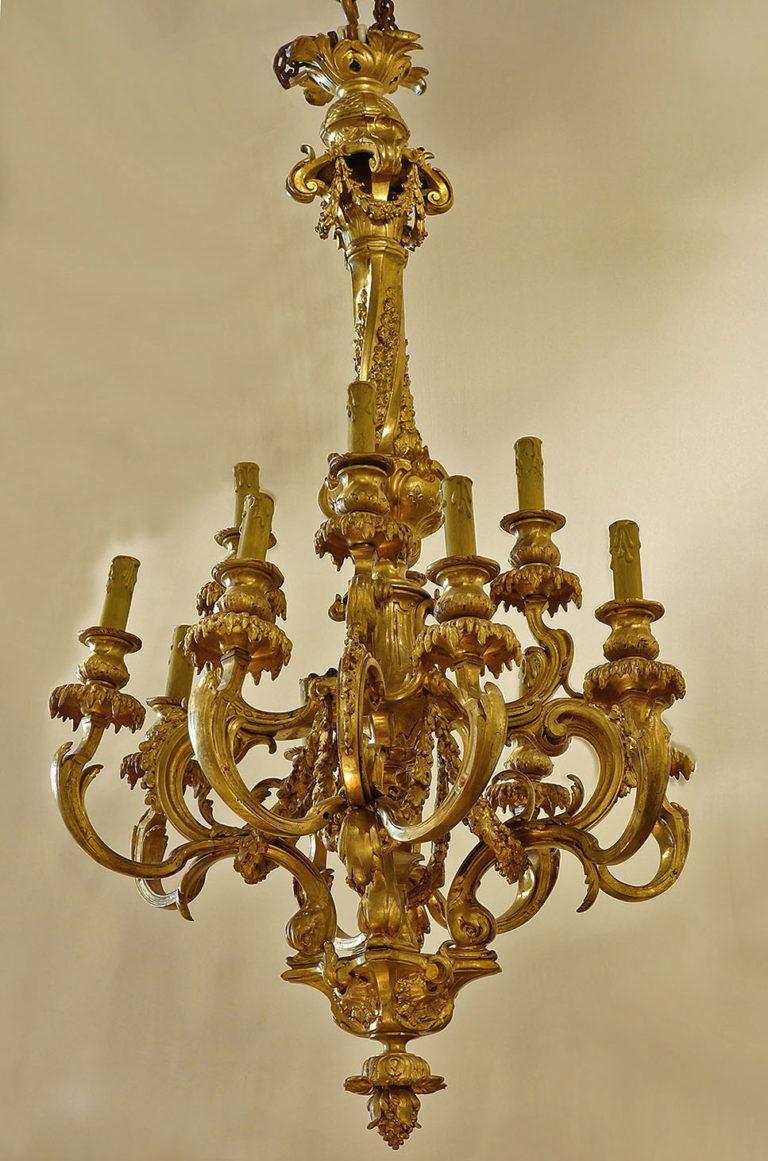 French gilt-bronze Louis XVI style chandelier