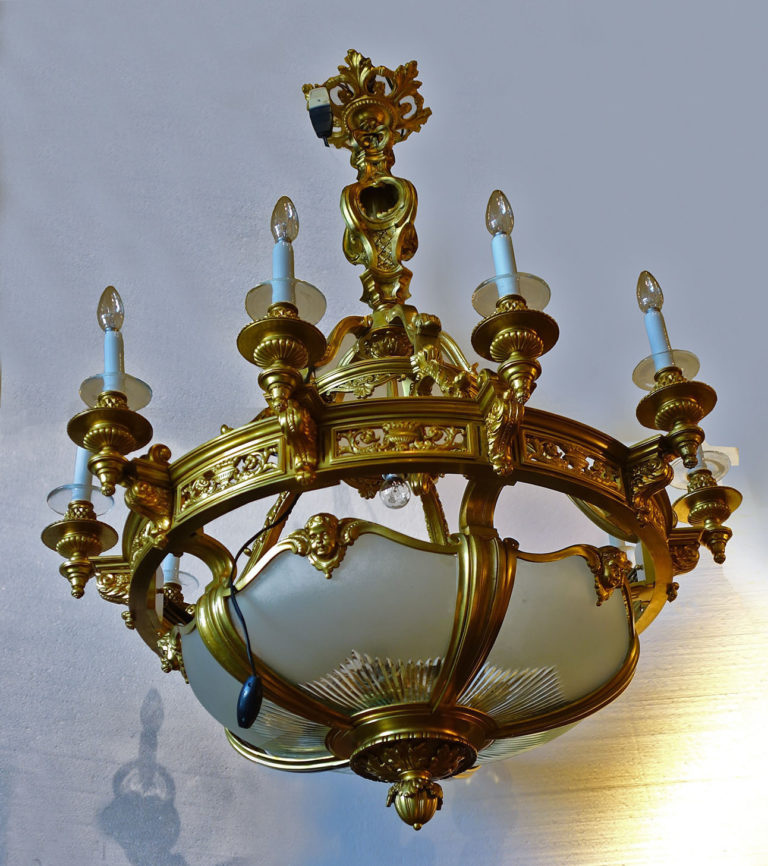 French Louis XVI style gilt-bronze chandelier