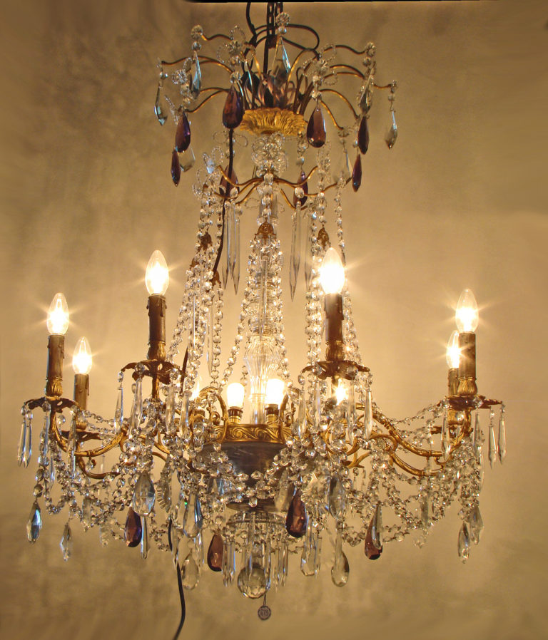 French gilt-bronze and cut glass chandelier Circa 1870