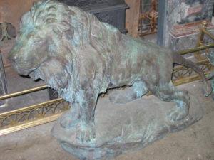 Bronze lion statue ex. Carrington hotel, blue mountains