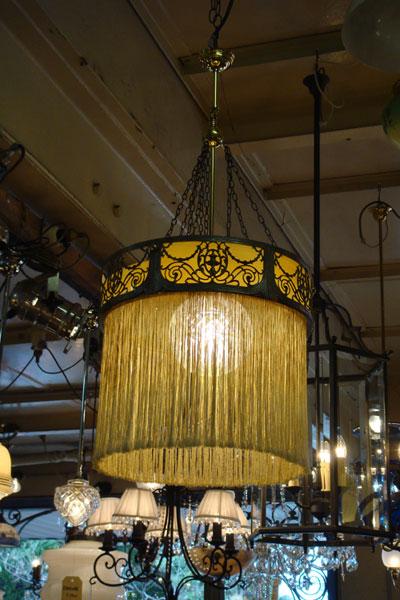 Fine Brass Light with Sepia Glass
