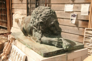 Bronze sleeping lion after antonio canova example