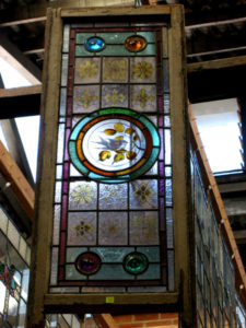 Leadlight window with stained glass