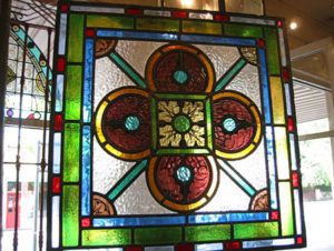 Leadlight window with coloured glass