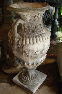 Stone composite urn with handles